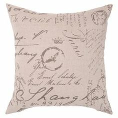 "Add a pop of style to your sofa, arm chair, or window seat with this charming pillow, showcasing a lovely carte postale motif in parchment.  Product: PillowConstruction Material: Polyester coverColor: ParchmentFeatures:  Insert includedRemovable cover with a zippered closureDimensions: 22"" x 22""Cleaning and Care: Blot stains"