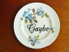 Gaybo hand painted vintage china plate with by trixiedelicious
