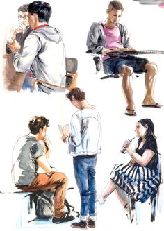 sketching people, ball point pen and watercolor http://joewhyteillustration.tumblr.com/