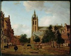 Jan van der Heyden : The Oude Kerk on the Oude Delft (Nasjonalmuseet for Kunst, Arkitektur og Design - Oslo (Norway - Oslo)) ヤン・ファン・デル・ヘイデン Delft, Vermeer Paintings, Johannes Vermeer, Dutch Golden Age, City Painting, Classic Paintings, Dutch Painters, Dutch Artists, Utrecht