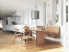 As a complement to the table, a bench is available in two versions: Floor-standing or floating. Dining Room Bench, Dining Room Design, Design Studio Office, Boffi, Small Hallways, Modern Art Deco, Banquette, Open Plan Kitchen, Kitchen Interior