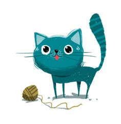 Blue cat illustration by Oscar Chavez. Alquinta | Flickr