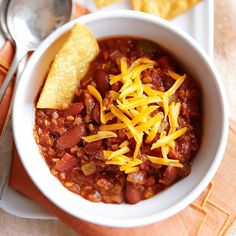 A steaming ladle-full of Vegetarian Lentil Chili is a delicious way to warm up at your fall potluck or tailgate. More potluck recipes: http://www.bhg.com/recipes/healthy/healthy-fall-potluck-recipes/