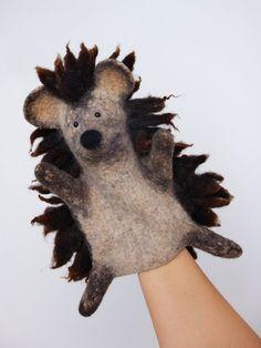 the hedgehog hand puppet wet felted Bob Marley style door bibabo