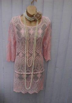 Lace theme 20s gatsby flapper charleston wedding ladies hen dress size 12 - 14