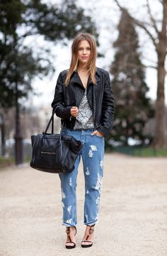 i loveit when women are confident enough to wear their torn up jeans with some fabulous heels