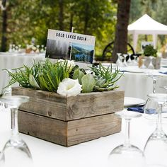Rustic, DIY wedding centerpiece with succulents in wooden box
