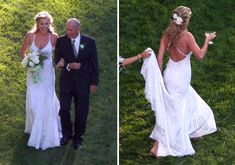 Rebecca Romijn wore a floor length Ralph Lauren wedding gown with a criss cross back for her backyard wedding to Jerry O'Connell.