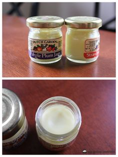 Lip Balm:  melt together a 1:1 ratio of beeswax and olive oil (you really could use any oil you want, but olive oil is awesome for your skin. I think I might add in some coconut oil next time, too!), stir in your essential oil (I used 2-3 drops per jar) and pour into a container of your choice!