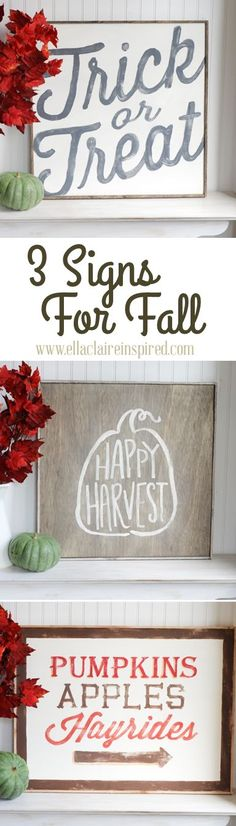 Three gorgeous hand painted fall signs.