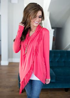 Fringed and Fabulous Crossed Top Coral