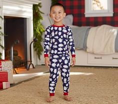 Penguin Tight Fit Pajama, Navy, 10