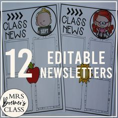 This pack includes 12 different editable class newsletter templates to share class news. Simply type over the text where it says 'text' to add your class news, reminders, birthdays, homework, and more. You can change the font, font size, and color to whatever you like! #classroomsetup #classnews #newslettertemplate #newsletter #classroom #backtoschool #teaching #classroomideas Classroom Setup, Classroom Organization, Class Newsletter Template, Homework, Back To School, Texts, Birthdays, Ads, Change