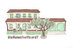 Italian Home with Olive tree illustration | Pen and marker | ©Robyn McKeown Design #robynmckeowndesign