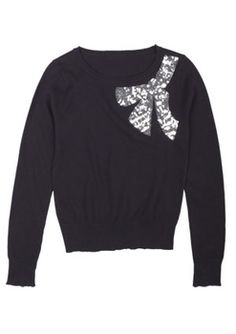 Cute! Sequin Bow Applique Sweater