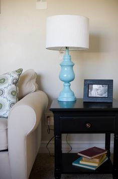 DIY lamp base: Goodwill shiny brass lamp base + Krylon Ocean Breeze spraypaint + this!