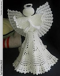 aniołki, gwiazdki i inne na Stylowi.pl Crochet Angel Pattern, Vintage Crochet Patterns, Crochet Angels, Christmas Crochet Patterns, Christmas Knitting, Crochet Ornaments, Handmade Ornaments, Christmas Angel Ornaments, Merry Christmas