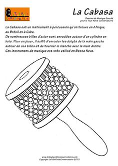 La cabasa Instrument Percussion, New Class, Pretty Black, French Language, Classical Music, Musical Instruments, Techno, Coloring Books, Continents