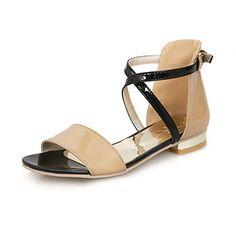 Sandalias de cuero de Patentes de tacón bajo con hebilla de fiesta / zapatos de noche (más colores) – EUR € 32.99