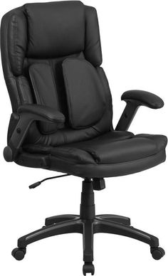 Flash Furniture BT-90275H-GG Extreme Comfort High Back Black Leather Executive Swivel Office Chair with Flip-Up Arms