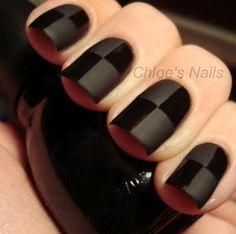 Unha, preta, brilho e fosca, quadriculada, decorada, artística
