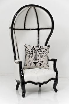 Float away in this exotic Balloon Chair in Black Lacquer and Cream Lizard Faux Leather by ModShop