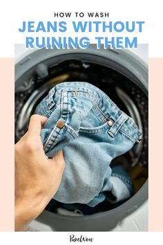 Denim is a tough fabric and it can go do without the frequent washing. However, it's also quite delicate, so it's important that you know what you're doing. Learn how to wash jeans without ruining them in two easy ways below. #wash #jeans #denim Canadian Tuxedo, Denim Trends, Embroidered Jeans, White Sneakers, Boyfriend Jeans, Delicate, Household Tips, Cleaning Hacks, Mud