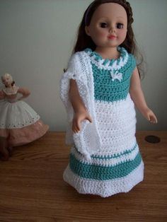 Adorable dress and bonnet free crochet pattern for the American Doll. Pinned from original source.