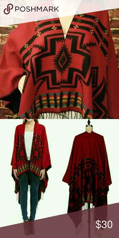 Aztec Jacquered Poncho Aztec Jacquered Poncho. 100% Acrylic. **Free Shipping: Submit offer for $7 less, and I will accept. Jackets & Coats Capes