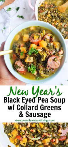 One-Pot Black-Eyed Pea Soup with Collard Greens & Sausage - Beautiful Eats & Things