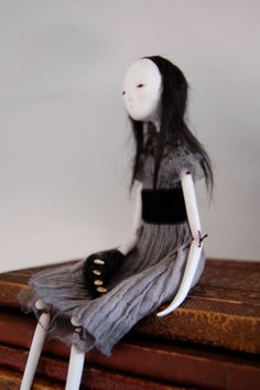 OOAK Paper Clay Art Doll Girl With The Bear by anthropomorphica, £180.00