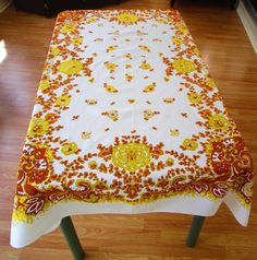 Imperfect Retro Tablecloth Fall Colors By VintageLinenGallery