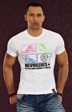 T-shirt homme fashion blanc NO VIOLENCE en coton manches courtes par UnCadeauUnSourire.com