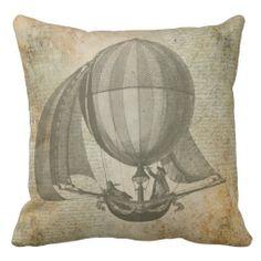 Shop Hot air balloon vintage pillow created by DeaDro. Galaxy Room, Vintage Pillows, Drink Coasters, Hot Air Balloon, Custom Pillows, Kids Room, Balloons, Cotton Fabric, Throw Pillows