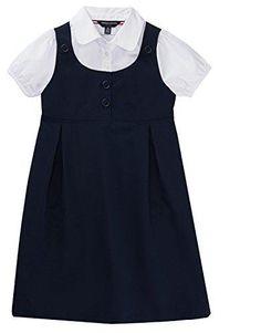 French Toast School Uniform Girls Peter Pan Collar 2-Fer Dress Navy 5