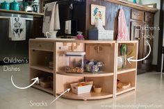 Come organizzare la cucina Montessori, con pochi euro e tanto divertimento per i bambini. Bambini in cucina con metodo Montessori.