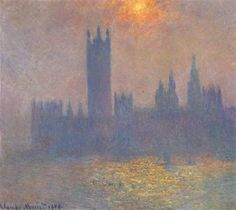 Houses of Parliament, Effect of Sunlight in the Fog - Monet Claude