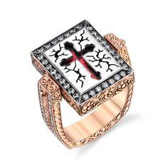 Ruby Tourmaline Diamond Silver Gold Reversible Cross Ring image 3