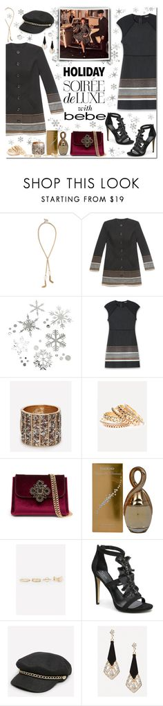 """""""Soirée de Luxe with bebe Holiday: Contest Entry"""" by margaretferreira ❤ liked on Polyvore featuring Bebe, bebe and holidaystyle"""