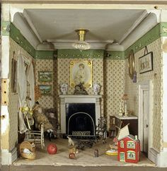 Amy Miles' dolls-house, showing a detail of the nursery, England, c.1890