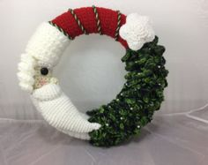 Crochet Santa and Christmas Tree Wreath Tutorial - Home Decor - Winter Wreath - Crochet pattern - Christmas Decor - instant download PDF