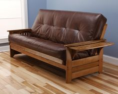 Rosemount Full Size Futon, Honey Oak Wood With Bonded Leather Innerspring Mattress, Saddle from Michael Anthony Furniture