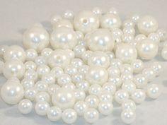 Bonanza of Acrylic Pearl Round Beads, Mixed Sizes - 98 Beads Total - DESTASH. $3.00, via Etsy.