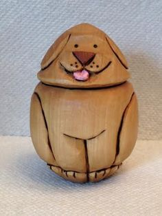 Hand Carved Little Puppy Goose Egg Handmade Wood by RWKWoodcarving, $30.00