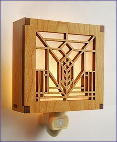 Frank Lloyd Wright Night light is art glass windows originally found in the now demolished Lake Geneva Inn