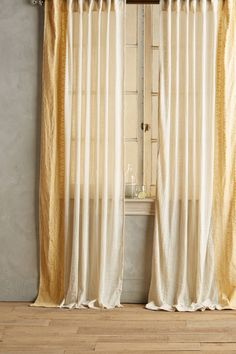 Mid Century Cotton Canvas Etched Grid Curtains Set Of 2