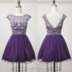 Purple Beaded Cap Sleeves Homecoming Dress V Back sold by puffgirl. Shop more products from puffgirl on Storenvy, the home of independent small businesses all over the world. Vintage Homecoming Dresses, Prom Gowns, Graduation Dresses, Evening Dresses, Bridesmaid Dresses, Military Ball Dresses, Fancy Gowns, Dresses For Teens, Dress Collection
