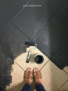 Super affordable bathroom floor makeover solution: how to chalk paint tile floors! So glad I painted. bathroom floor farmhouse Super affordable bathroom floor makeover solution: how to chalk paint tile floors! So glad I painted… Painting Tile Floors, Painted Floors, Painting Ceramic Tile Floor, Paint Floor Tiles, Painting Bathroom Tiles, Wall Tile, How To Paint Tiles, Black Floor Paint, Painting Over Tiles