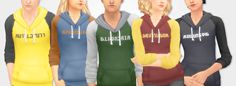 "robotfishes: "" More Harry Potter themed stuff bc why not? These hoodies are on a base game mesh, and it's under the masculine clothing category. The Ravenclaw hoodie has 2 options- blue & bronze and. Mode Harry Potter, Harry Potter Hoodie, Theme Harry Potter, Sims 4 Mm Cc, Sims 1, Sims 4 Cas, Sims 4 Clothing, Sims 4 Cc Finds, Sims Mods"
