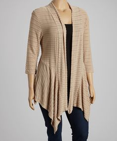 This Khaki Three-Quarter Sleeve Open Cardigan - Plus is perfect! #zulilyfinds